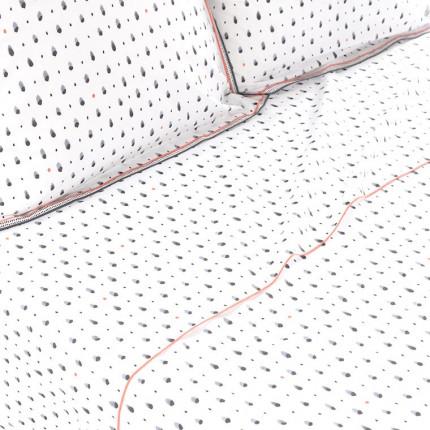 Drap de lit percale de coton à pois aquarellés Ellyn