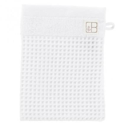 Gant de toilette uni coton biologique Envol en nid d'abeille blanc