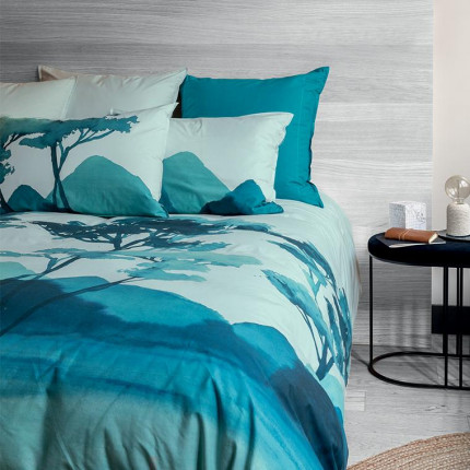 Parure de lit percale de coton imprimée fresque paysage Evasion bord de mer