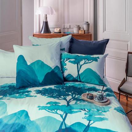 Parure de lit percale de coton imprimée fresque paysage Evasion urbain