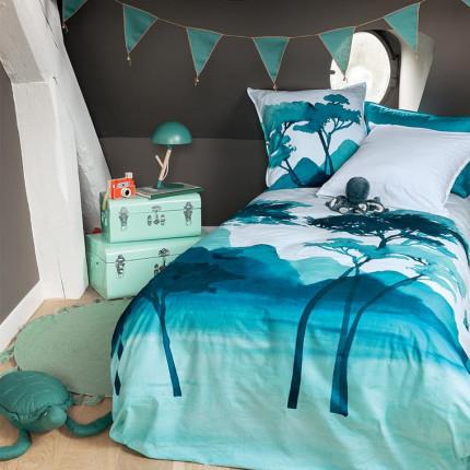Parure de lit enfant percale de coton imprimée fresque paysage Evasion