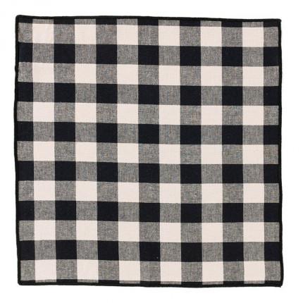 Serviette de table coton tissée vichy Faubourg noir et grège