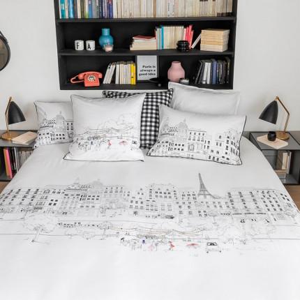 Parure de lit percale de coton imprimée guinguette Faubourg urbain