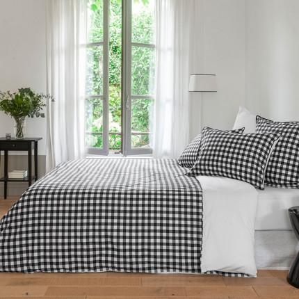 Parure de lit percale de coton imprimée vichy Faubourg classique chic