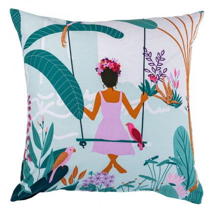 Taie d'oreiller carrée pur coton biologique imprimée tropical Frida