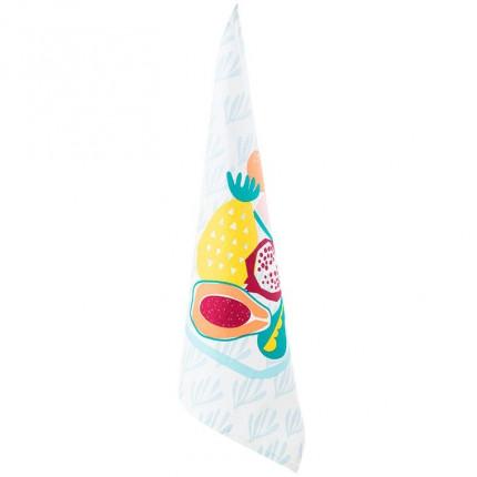 Torchon coton imprimé fruits Frutti blanc