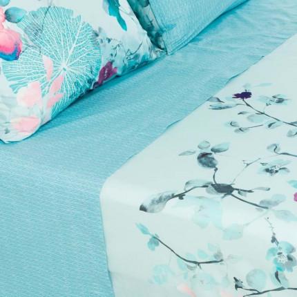 Drap de lit percale de coton imprimé floral Givre