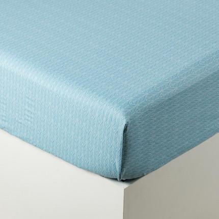 Drap housse percale de coton imprimé motif géométrique Givre