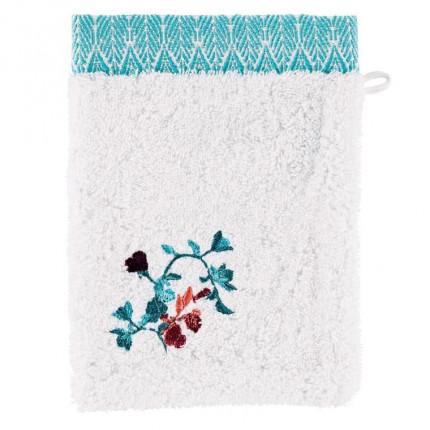 Gant de toilette coton broderie florale Givre blanc