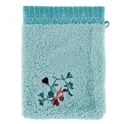 Gant de toilette coton broderie florale Givre glacier