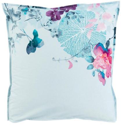 Taie d'oreiller carrée percale de coton imprimé floral Givre