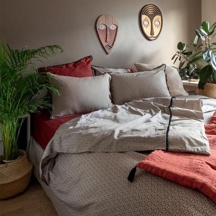 Parure de lit pur coton lavé imprimée ethnique Handira