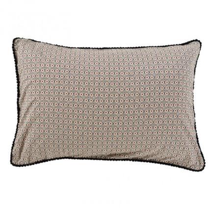 Taie d'oreiller rectangulaire pur coton lavé imprimée ethnique Handira