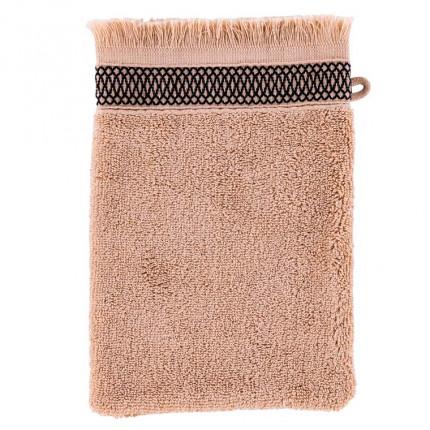 Gant de toilette coton liteau jacquard Havane lin