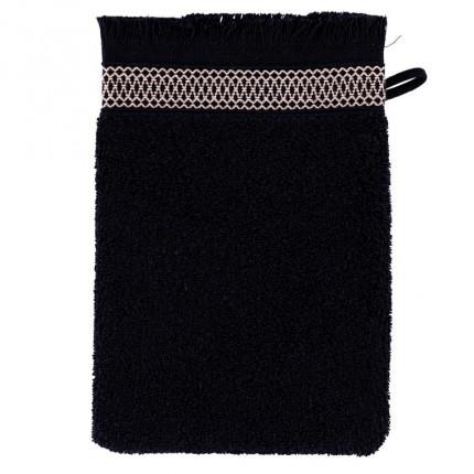Gant de toilette coton liteau jacquard Havane noir