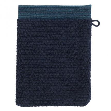 Gant de toilette bouclette de coton uni Helios marine