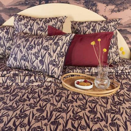 Parure de lit réversible percale de coton Hokkaido fleurs