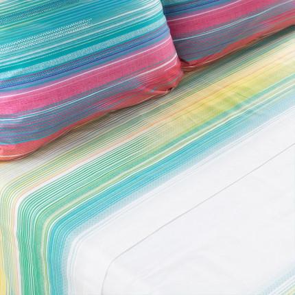 Drap de lit percale de coton rayures multicolores Holi
