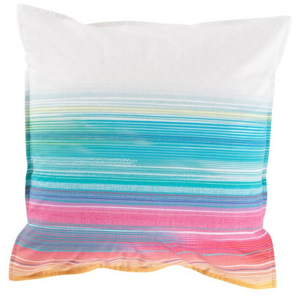 Taie d'oreiller carrée percale de coton rayures multicolores Holi