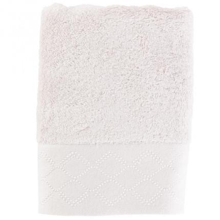 Serviette de toilette coton bambou brodé Honorée grège