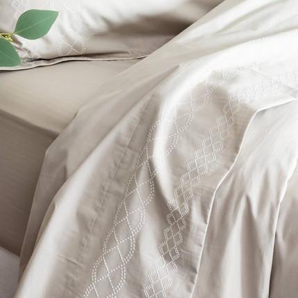 Drap de lit percale de coton brodé Honorée