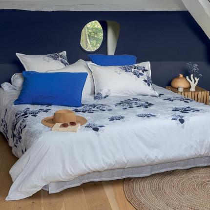 Parure de lit percale de coton imprimée fleurs en aquarelle Hortense bord de mer