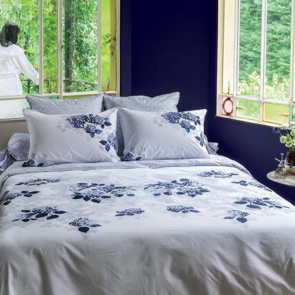 Parure de lit percale de coton imprimée fleurs en aquarelle Hortense classique chic maison de campagne