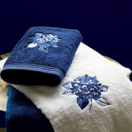 Parure de bain bouclette de coton brodée fleurs Hortense