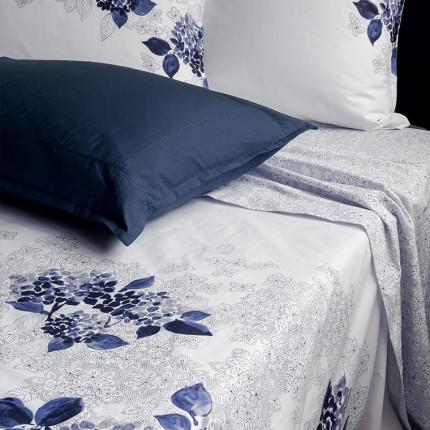 Drap de lit percale de coton imprimé fleurs en aquarelle Hortense