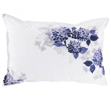 Taie d'oreiller rectangulaire percale de coton imprimée fleurs en aquarelle Hortense