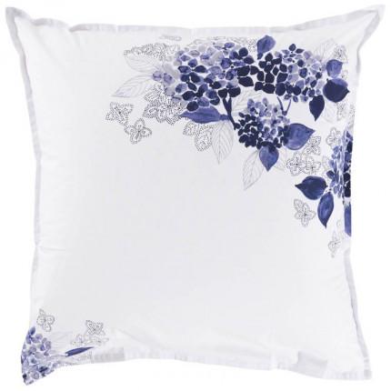 Taie d'oreiller carrée percale de coton imprimée fleurs en aquarelle Hortense