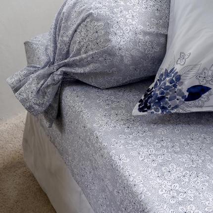 Drap housse percale de coton imprimé esprit liberty fleurs aquarelle Hortense