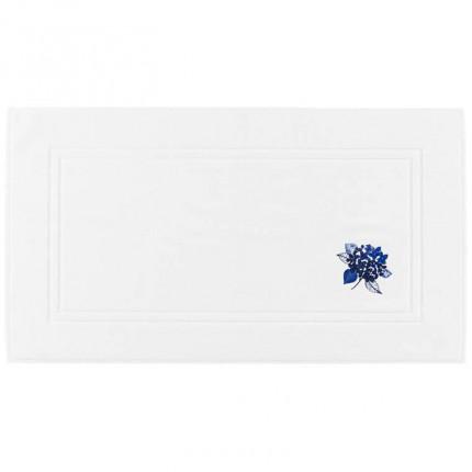 Tapis de bain bouclette de coton brodé fleur Hortense blanc