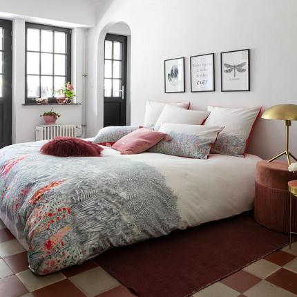 Housse de couette percale de coton imprimé floral Idylle safran