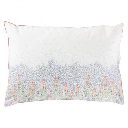 Taie d'oreiller rectangulaire percale de coton imprimé floral Idylle safran