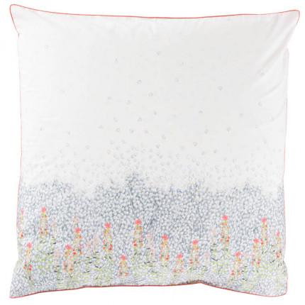 Taie d'oreiller carrée percale de coton imprimé floral Idylle safran