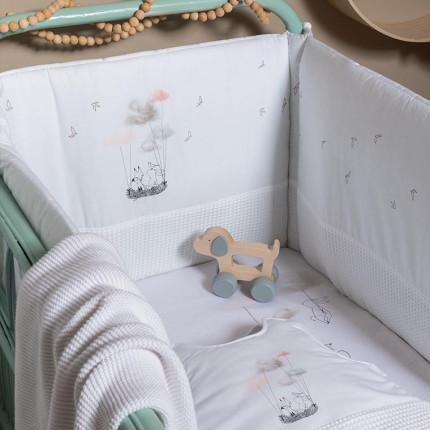 Parure de lit bébé percale de coton biologique imprimée animaux Imagine