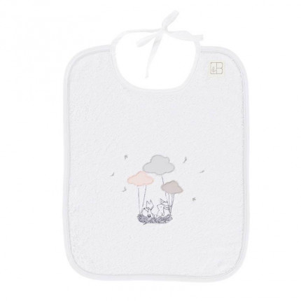 Bavoir bouclette de coton biologique brodé nuages Imagine blanc