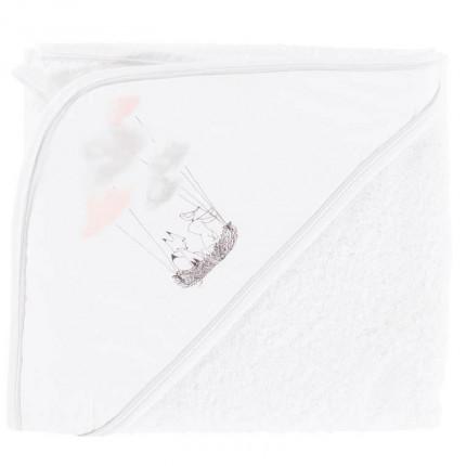 Cape de bain bouclette de coton biologique imprimée nuages Imagine blanc