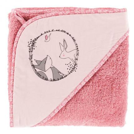 Cape de bain bouclette de coton biologique imprimée lapin Imagine pétale