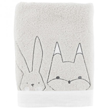 Drap de bain bouclette de coton biologique brodé animaux Imagine nuage