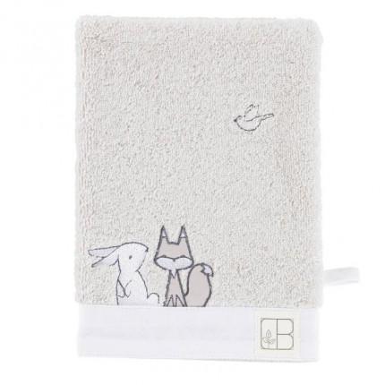 Gant de toilette bouclette de coton biologique brodé animaux Imagine nuage