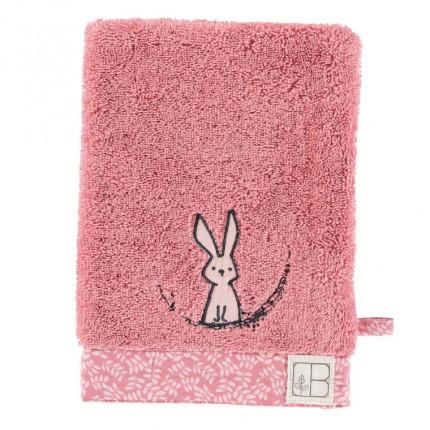 Gant de toilette bouclette de coton biologique brodé lapin Imagine pétale