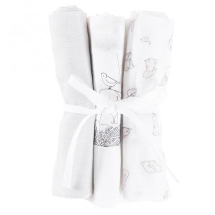 Lot de 3 langes en mousseline coton biologique Imagine