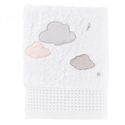Serviette de toilette bouclette de coton biologique brodée nuages Imagine blanc
