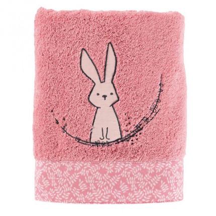 Serviette de toilette bouclette de coton biologique brodée lapin Imagine pétale