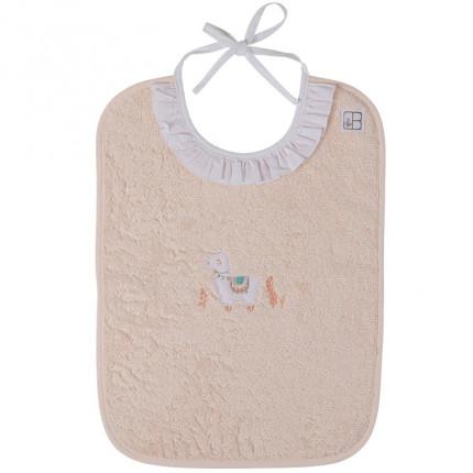 Bavoir bouclette de coton biologique broderie lama Inca blush