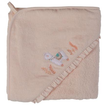 Cape de bain bouclette de coton biologique broderie lama Inca blush