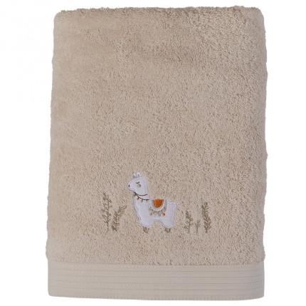Drap de bain bouclette de coton biologique broderie lama Inca beige