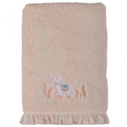 Drap de bain bouclette de coton biologique broderie lama Inca blush